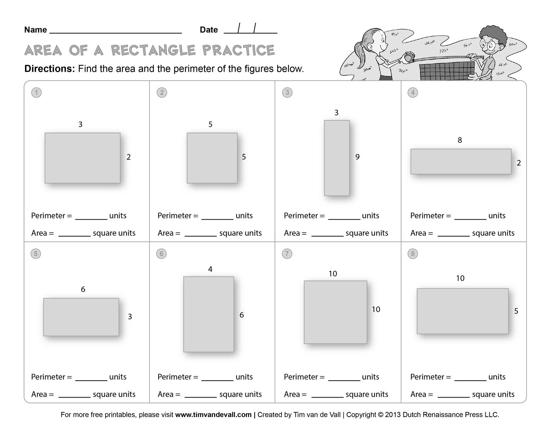 Printable Fifth Grade Math Worksheet Area And Perimeter