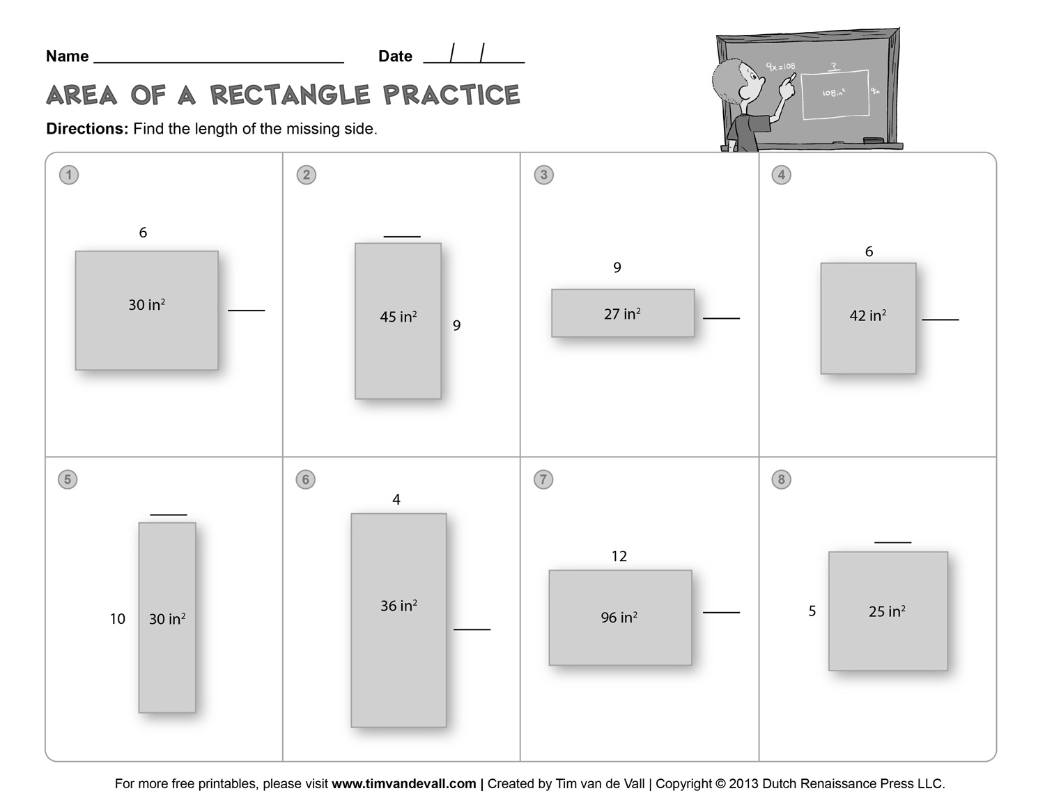 hight resolution of Area-and-Perimeter-Worksheet-03-BW - Tim's Printables