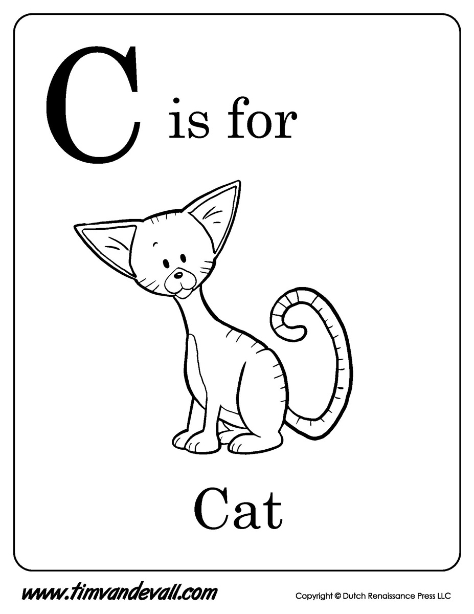 C is for cat printable tim s printables rh timvandevall c is for caterpillar coloring