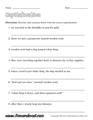Free Capitalization Worksheets For Kids Language Arts Pdf