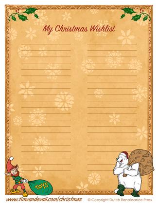 christmas wishlist template