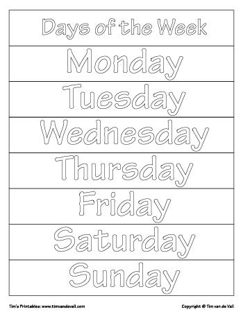 Days of the Week Printables