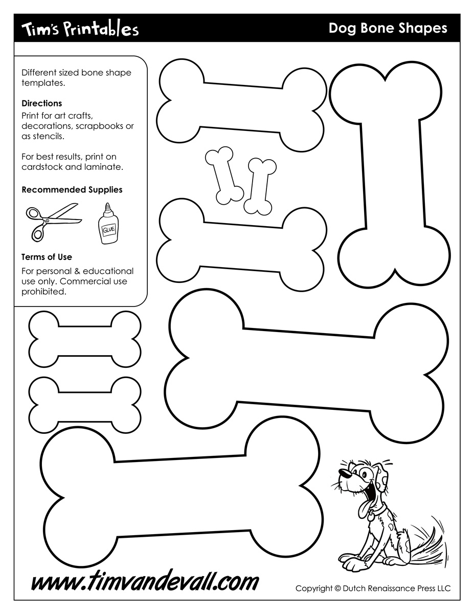 It is a graphic of Dog Bone Printable regarding outline cartoon