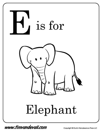 E is for Elephant Letter E Coloring Page