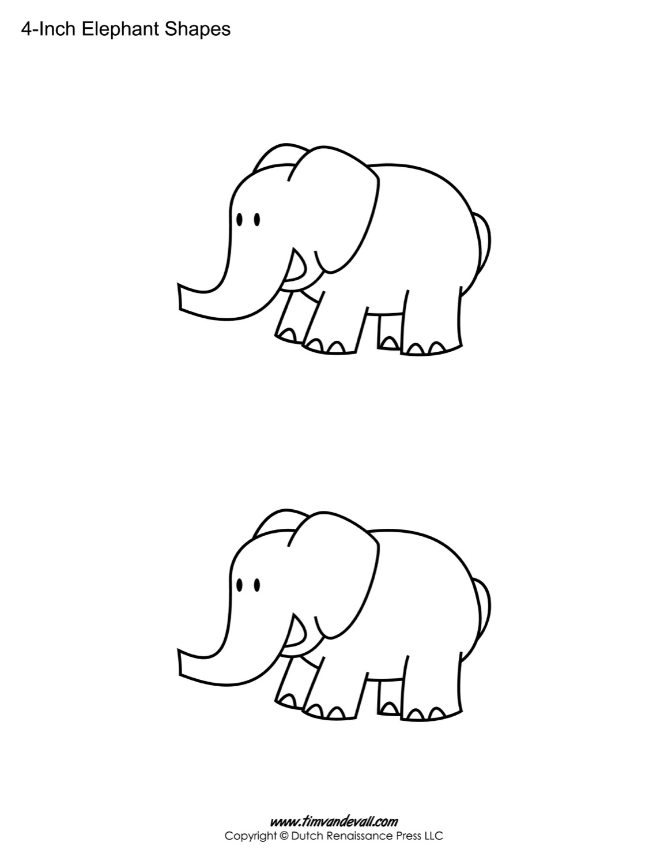 Printable Elephant Templates / Elephant Shapes for Kids
