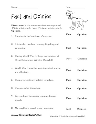 free fact and opinion worksheet