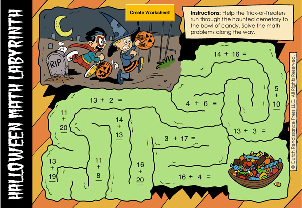halloween addition worksheet generator