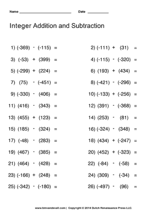 Printables 7th Grade Integer Worksheets adding integers 7th grade and subtracting games worksheets with answer key