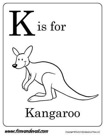 K Is For Kangaroo Letter K Coloring Page Pdf