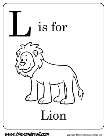 l is for lion letter l coloring page