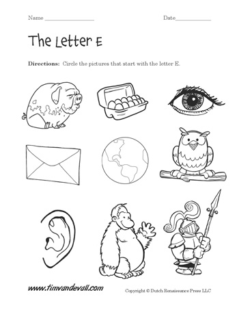 Letter E Worksheet #2