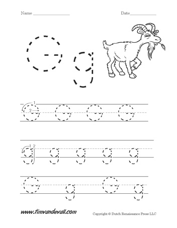 letter g worksheets