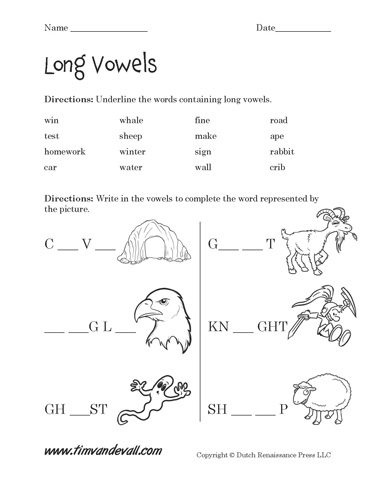 Free Long Vowel Worksheets | Langugae Arts Printables