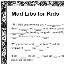 free printable mad libs for kids