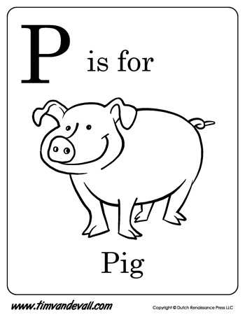 p is for pig letter p