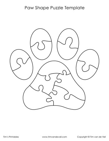 Paw Shape Puzzle Template