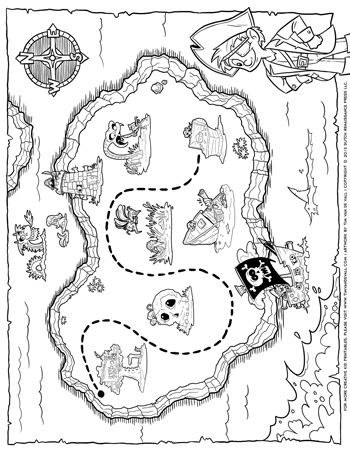 treasure map coloring pages # 7