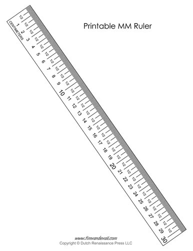 printable mm ruler