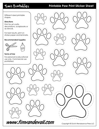 Printable Paw Print Templates