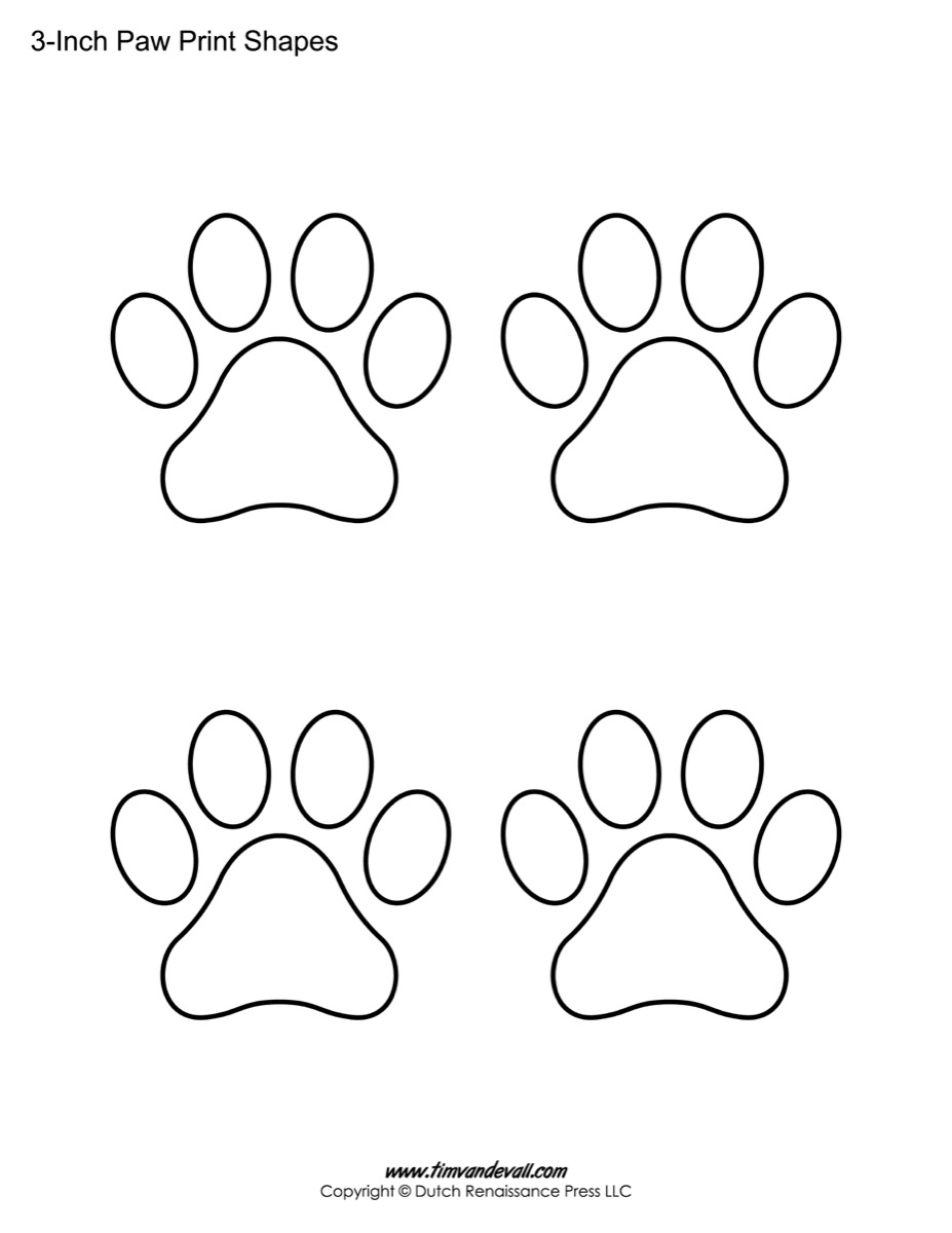 paw print template shapes blank printable shapes