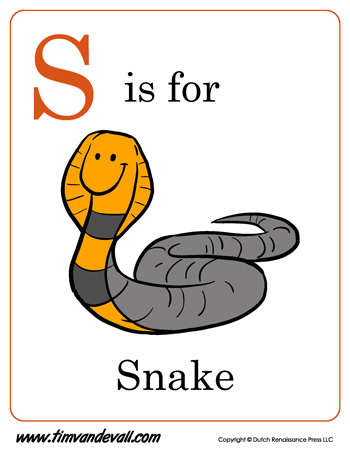 S Is For Snake Letter S Coloring Page PDF
