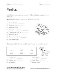 Simile Worksheets Pdf