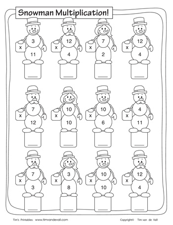 Snowman Multiplication Worksheet