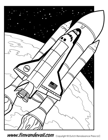 space shuttle coloring page