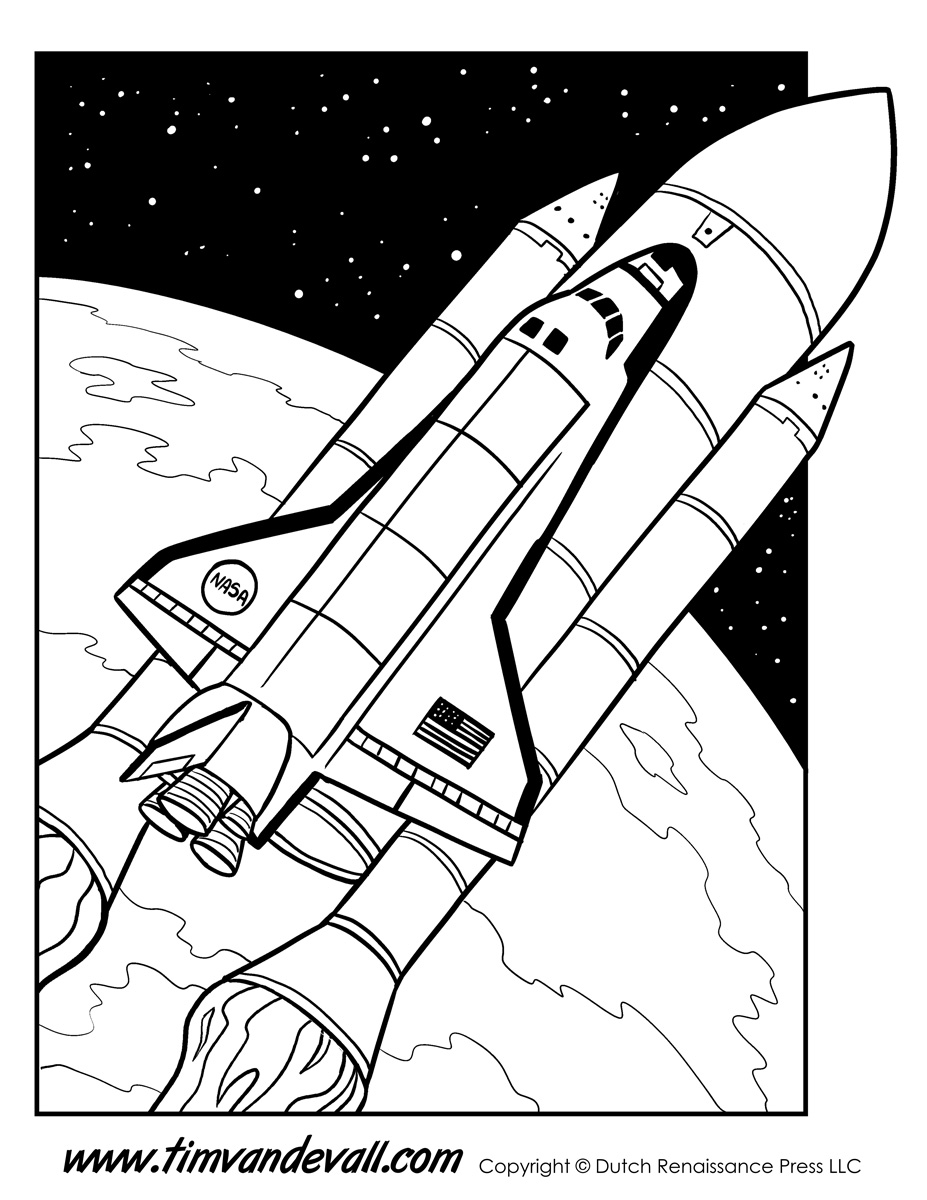 Space-Shuttle-Coloring-Page - Tim's Printables