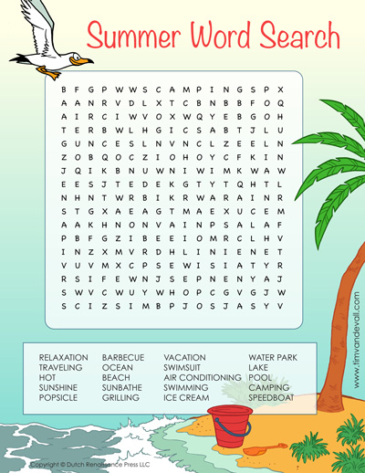 Summer Word Search For Kids Printable Vacation Activity