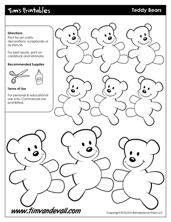 Teddy-Bear-Templates-350 Teddy Bear Newsletter Template on sleeping baby, anatomical heart, full body, baby shower, paper bag puppet, applique pattern,