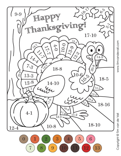 thanksgiving color by numbers - subtraction
