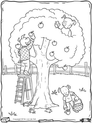 Three-Little-Pigs-Apple-Tree-Coloring-Page