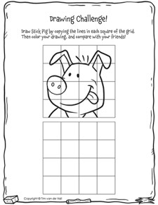 Three Little Pigs Drawing Challenge - Stick Pig - Black & White