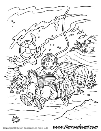 Underwater Reading Coloring Page