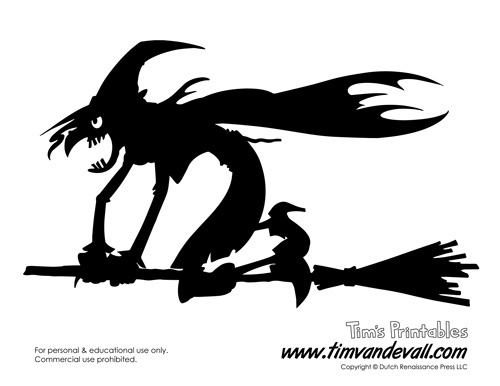 Free Printable Witch Silhouette for Halloween