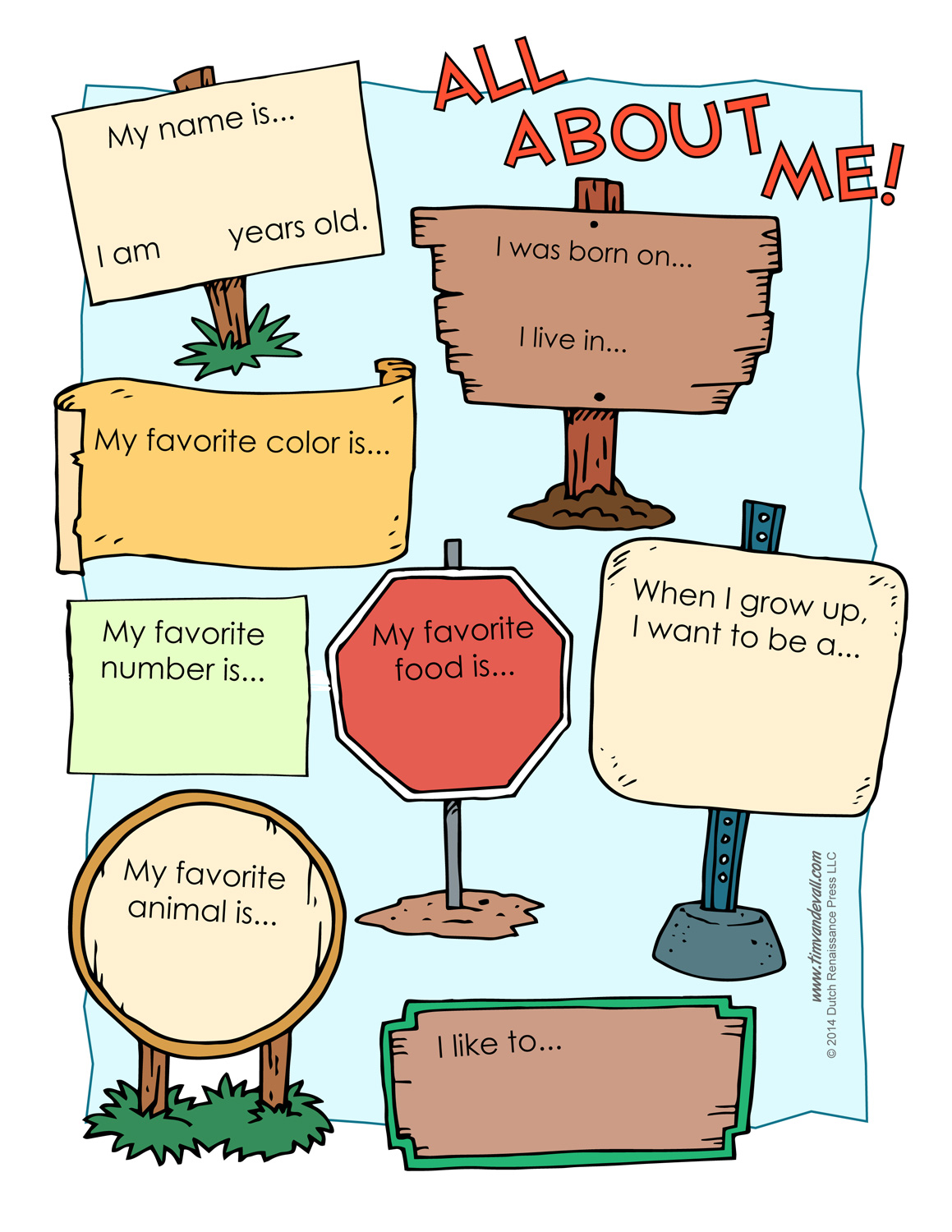 All About Me Worksheet Printable