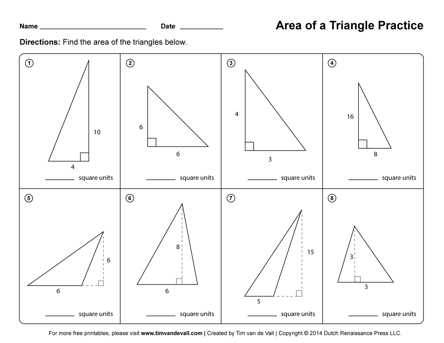 Worksheet Area And Perimeter Of Triangles Worksheets