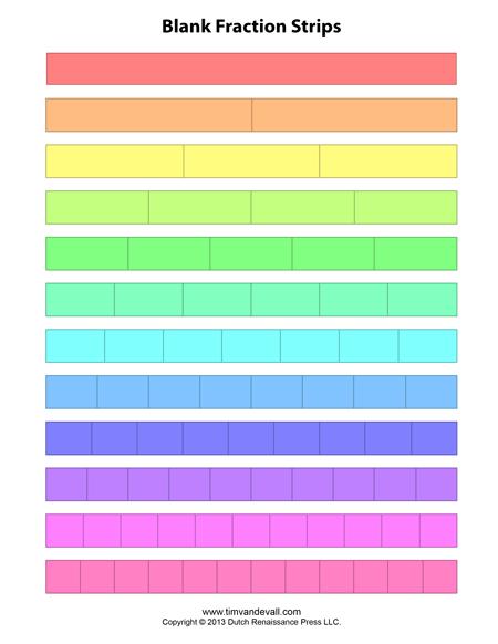 blank fraction strips