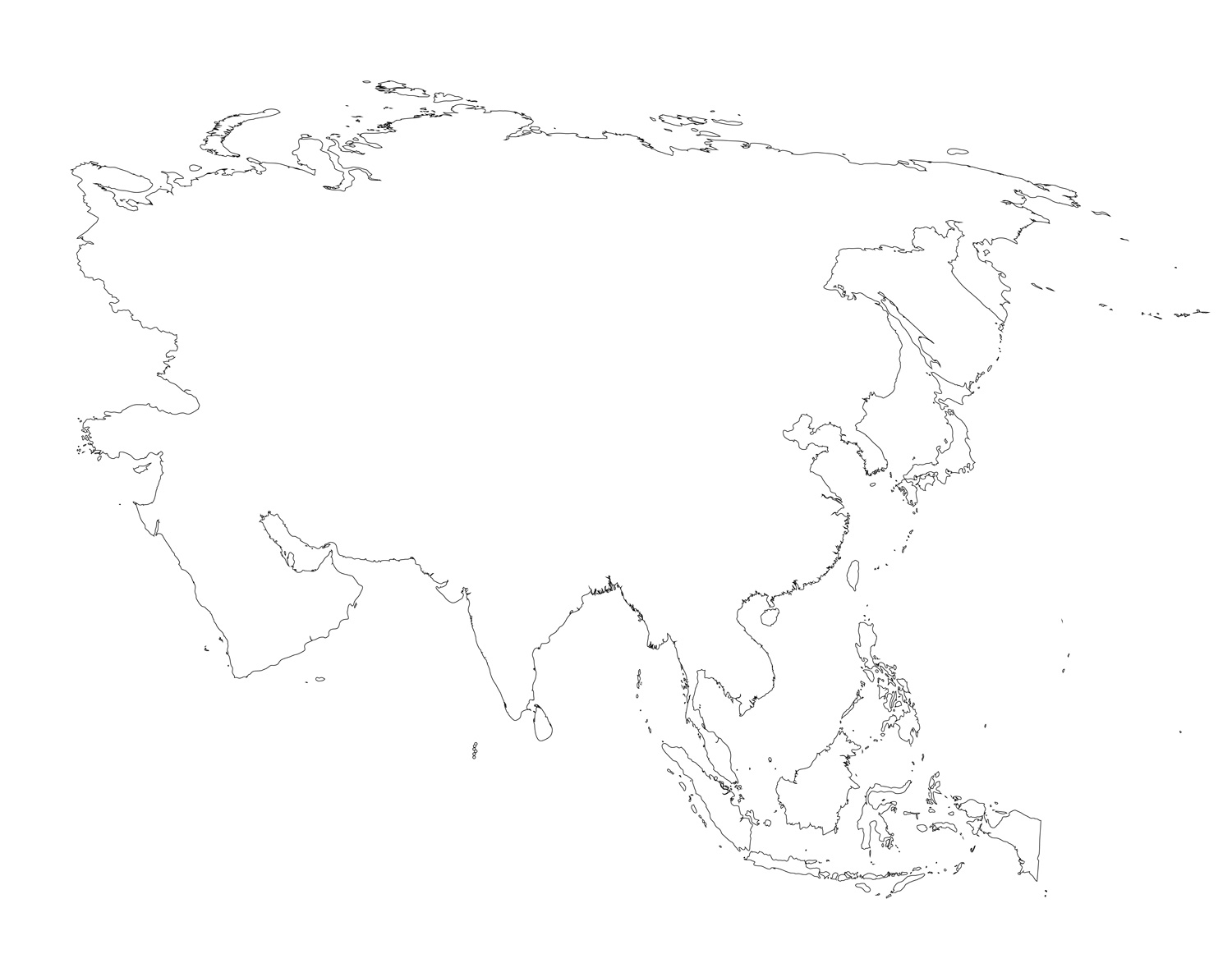 Blank Map Of Asia Printable
