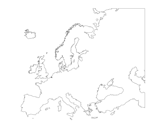 Printable Blank Map of Europe