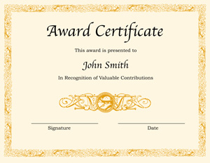 certificate template for word