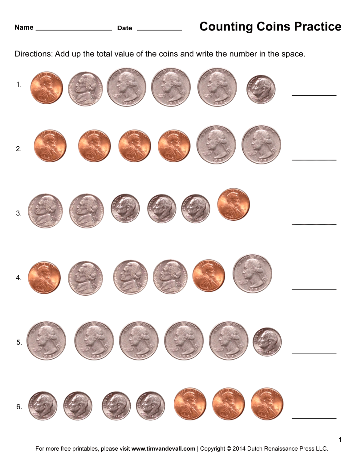hight resolution of counting-coins-worksheets - Tim's Printables