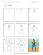 Easy Drawing Tutorials for Kids - Cowboy