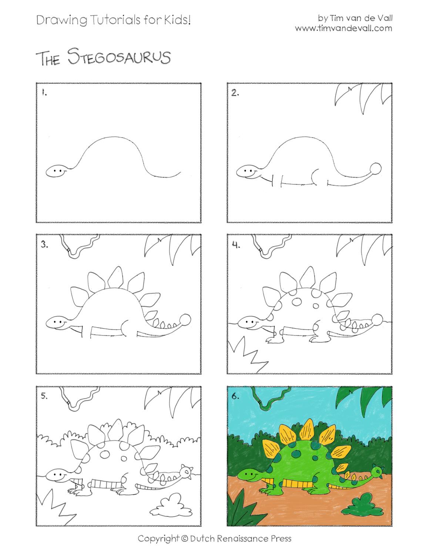 Easy Drawing Tutorials for Kids   Stegosaurus   Tim's Printables