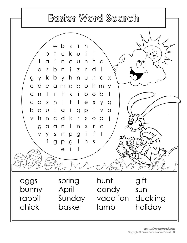 Easter Word Search Printable - Tim's Printables [ 1500 x 1159 Pixel ]