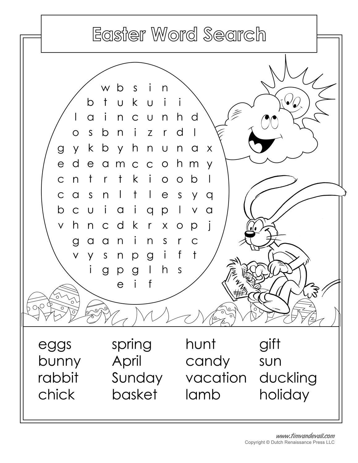 small resolution of Easter Word Search Printable - Tim's Printables