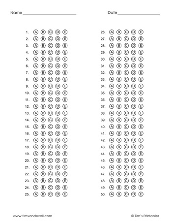 Printable Answer Sheet Templates PDF for Multiple Choice Tests