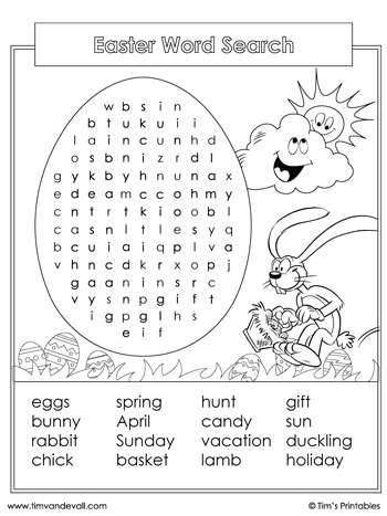easter word search - black and white