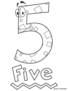 Number Five Coloring Page